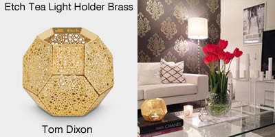 Tom Dixon Etch Tea Light Holder Brass
