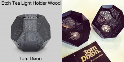 Tom Dixon Etch Tea Light Holder Wood Black