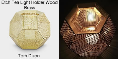 Tom Dixon Etch Tea Light Holder Wood Brass