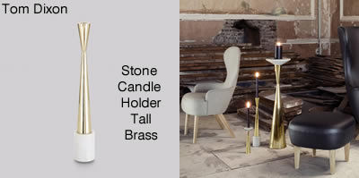 Tom Dixon Stone Candle Holder Tall Brass